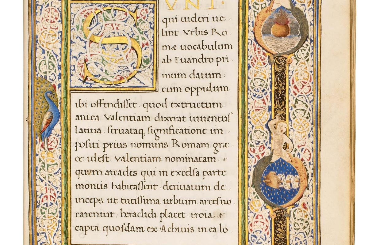 Solinus, Collectanea, f.7r with coat of arms in lower margin